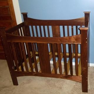 Walnut baby bed for great  nephew