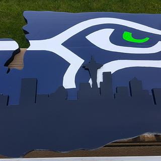 Seahawk with Seattle skyline - Woodworking Project by Tim