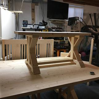 Farmhouse table, bench and chairs - Woodworking Project by Jack King