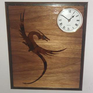 Marquetry Dragon Clock.