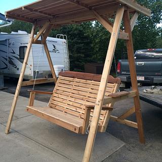 Cedar lawn swing with wood canopy - Woodworking Project by Sheri Noble, woodworking at it's finest!