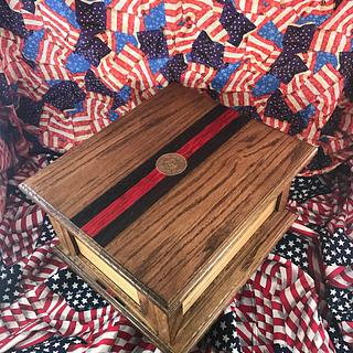 Thin Red Line Oak Urn - Woodworking Project by Roushwoodworking