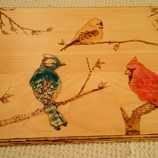 Three Birds Pyrography Art with Watercolor - Cake by CharleeAnn