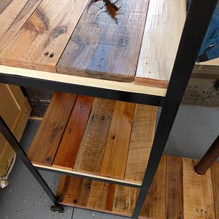 Steel and reclaimed wood rolling shelves/entertainment stand - Cake by Justin
