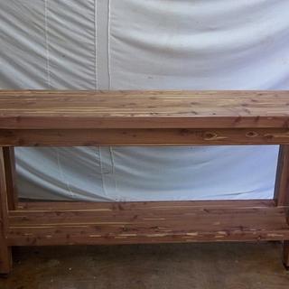 Cedar hall table from 8X8 beam