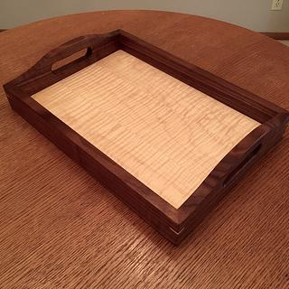 Walnut and curly maple serving tray - Project by Nick Endle