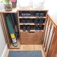 Custom Entryway Shoe Cubby with Recycling and Ladder Storage - Woodworking Project by Alexis