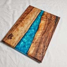English walnut blue epoxy river charcuterie board - Woodworking Project by Timberfallco