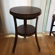 wine barrel and walnut bistro table - Woodworking Project by Thornwood Lou