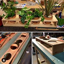 Mini-planter crafted time hold 3-7 Pots. Made with cedar so it can be used outdoors. - Woodworking Project by DoubleC