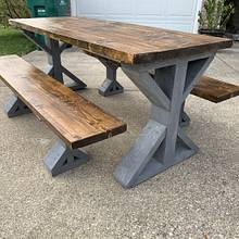 Farmhouse trestle table - Woodworking Project by Coal River Workshop