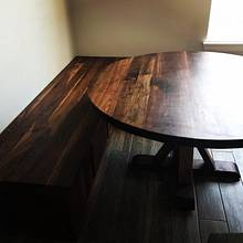 Walnut table and built-in corner bench - Woodworking Project by Okie Craftsman