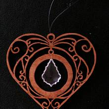 Scroll Sawed Heart with Crystal - Woodworking Project by Celticscroller