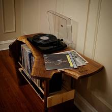 Crotch Walnut Waterfall Record Player Table - Woodworking Project by BerchtoldDesignBuild