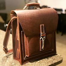 Front pocket messenger style briefcase - Leatherworking Project by GengusTom