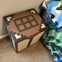 Minecraft Crafting Table style side table with hidden storage - Woodworking Project by Dee