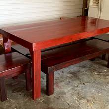 Cedar table, side benches and end stools.  - Woodworking Project by Chris & Sandy Charpentier