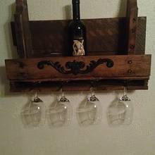 reclaimed pallet wood wine rack and stem holder - Woodworking Project by JMac