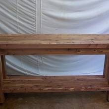 Cedar hall table from 8X8 beam - Woodworking Project by woodbutchersc