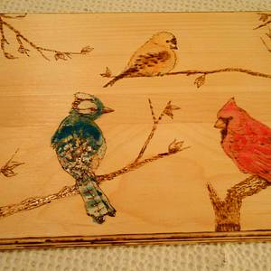 Three Birds Pyrography Art with Watercolor - Woodworking Project by CharleeAnn