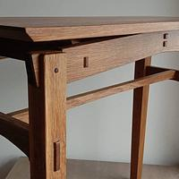 Fumed utility table in American Oak and recycled English Oak and walnut - Project by Chinwagfurniture