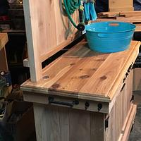 Potting/ garden stand - Woodworking Project by Sheri Noble, woodworking at it's finest!