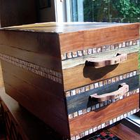 LongDraw Bedside Drawer Hardwood and Copper Pearl Shell Mosaic - Woodworking Project by EmilyBieman
