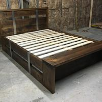 Steel Belted bed and night stand  - Woodworking Project by Indistressed
