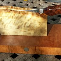 Damascus cleaver and knife block. - Woodworking Project by Mark Michaels