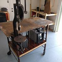 Salvaged steel and lumber welding table