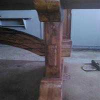reclaimed Doug Fir, slab top, trestle table - Woodworking Project by Quin W.