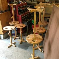 Solid Oak and Mahogany  Wine Tables - Woodworking Project by David A Sylvester