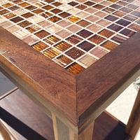 Handcrafted Solid Walnut Accent Table with Glass Tile - Woodworking Project by Angela Maddock