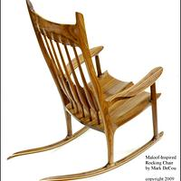 Sam Maloof Style Rocking Chair Walnut Rocker Burl Veneer Carved Sculpture - Woodworking Project by Mark DeCou Studio