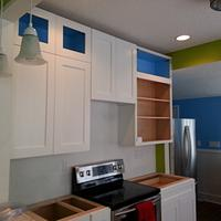 My first commision as a company - Shaker kitchen in white - almost done....