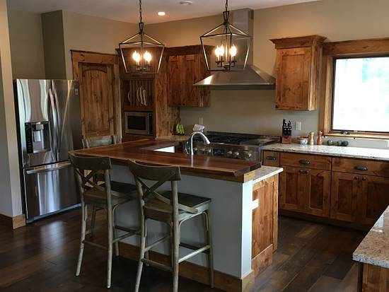Knotty Alder Kitchen Cabinets And Black Walnut Live Edge Counter Top Woodworking Project By Dacabinetguy Craftisian
