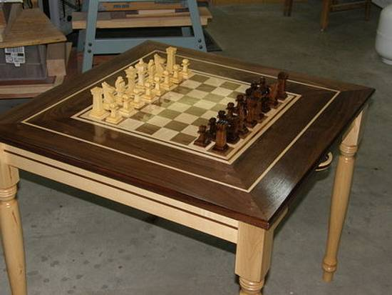 Chess Table and 3d cut pieces.. - Woodworking Project by MontanaBob