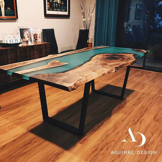 Teal Walnut Table - Woodworking Project by Harold Aguirre