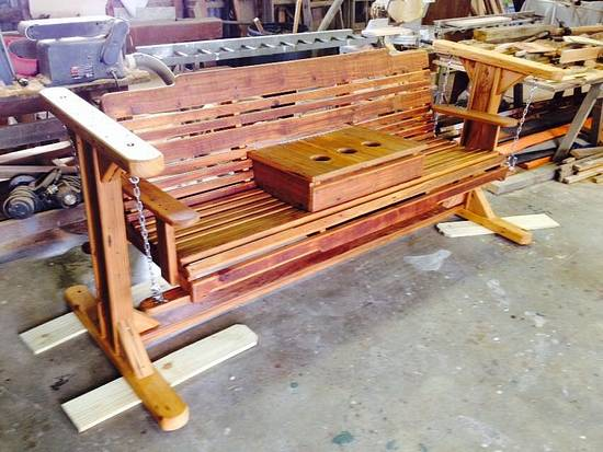 Glider/swing made from reclaimed antique Cypress - Woodworking Project by Kelly Loupe