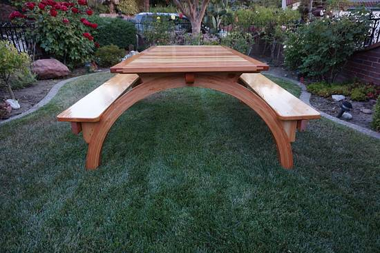 Arched Legs Picnic Table - Woodworking Project by lanwater