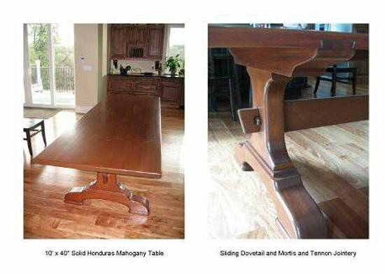 Honduran mahogany, slab top, trestle table - Woodworking Project by Quin W.