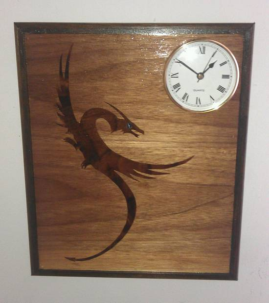 Marquetry Dragon Clock. - Woodworking Project by Frank Murphy