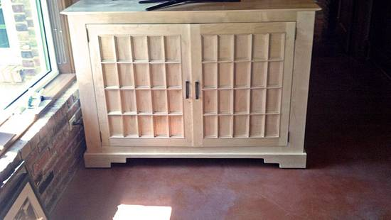Solid Maple TV console with Shoji Screen inspired doors - Woodworking Project by Clark Fine Furniture