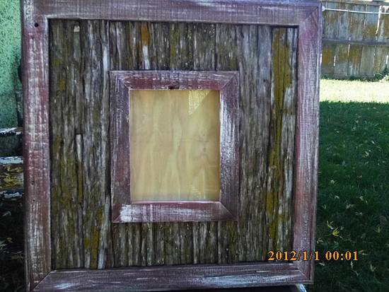 tree bark picture frame - Woodworking Project by barnwoodcreations